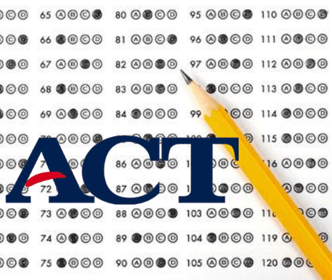 image of ACT test page with pencil