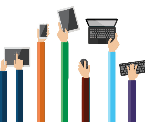cartoon image of hands holding different electronic devices