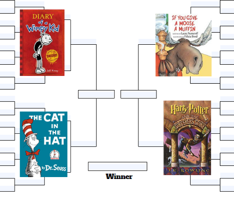 image of a tournament bracket with children&#39s book covers on it