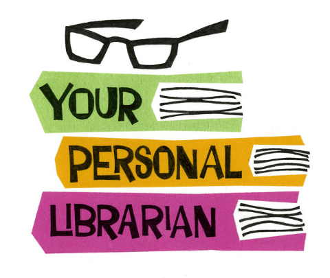image of glasses on top of a stack of books &#34your personal librarian&#34