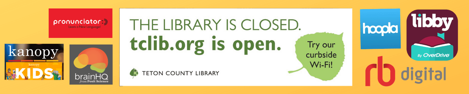 image saying library is closed, tclib.org is open