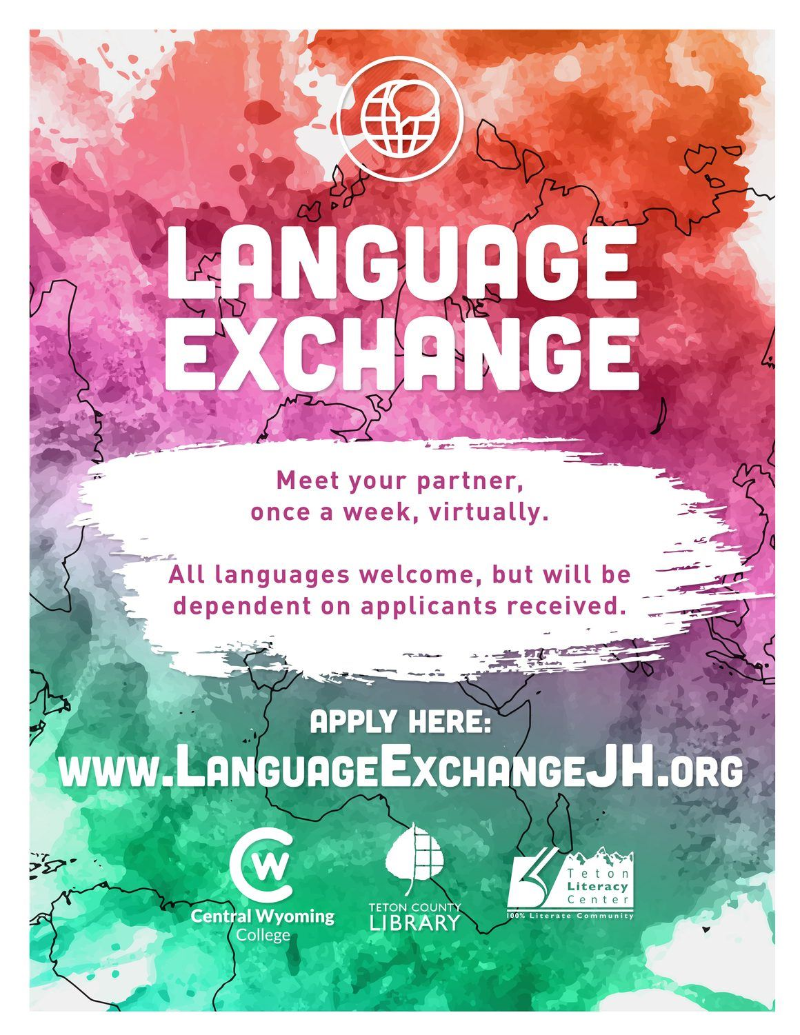 image of the flyer for the upcoming Language Exchange series