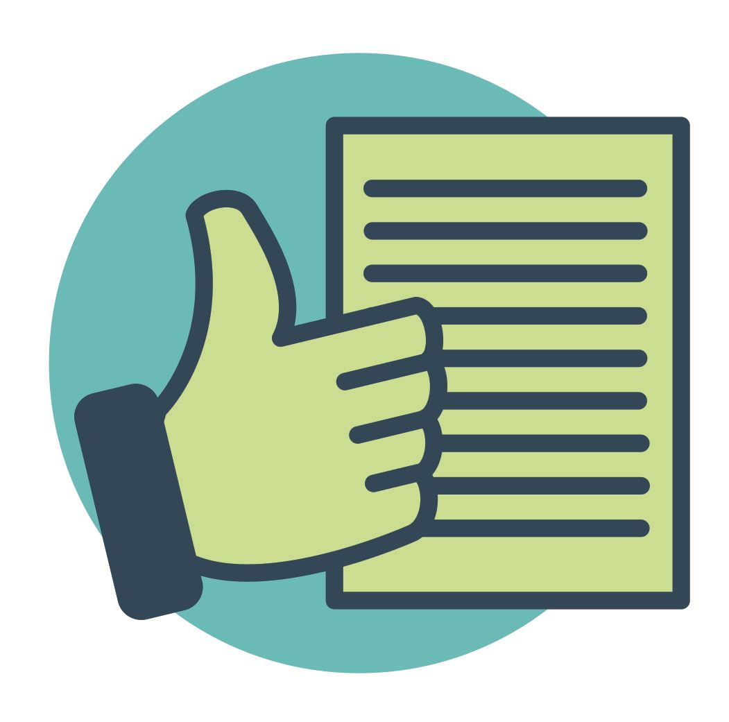 image of a thumbs up and completed tax form
