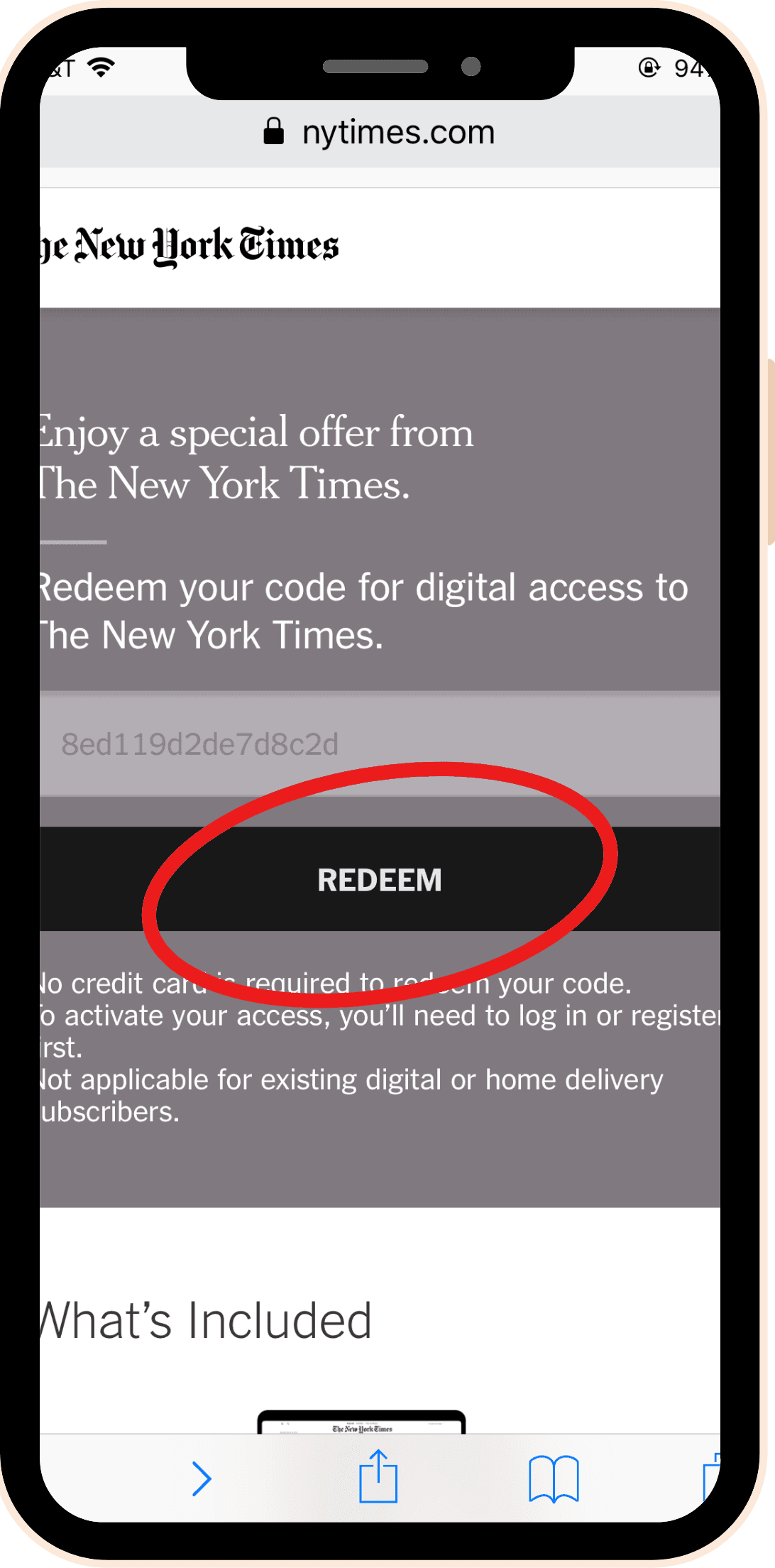 image of New York Times code redemption webpage
