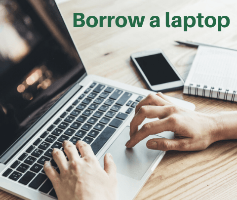 "image of a laptop with words ""borrow a laptop"""