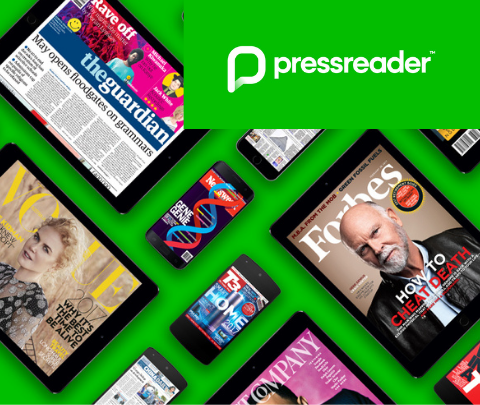 image of pressreader logo and some of the magazine covers it offers