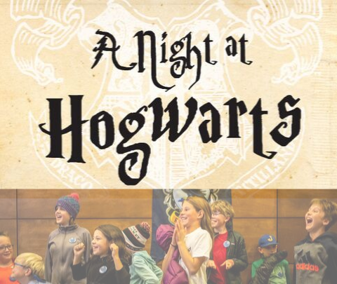 image of A Night at Hogwarts logo and kids at the event