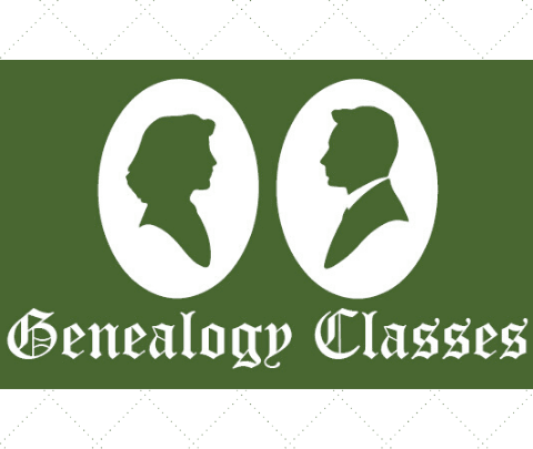 "image of silhouettes with the words ""genealogy classes"""