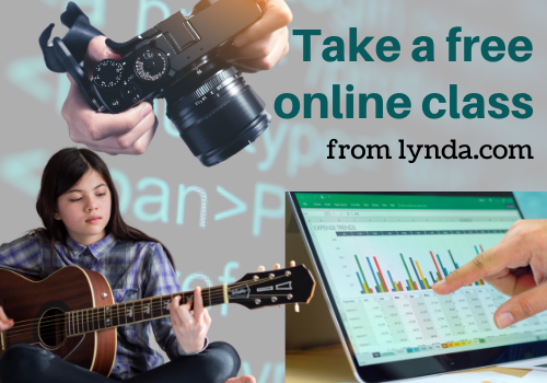 image of musician, computer, camera to show different types of lynda classes