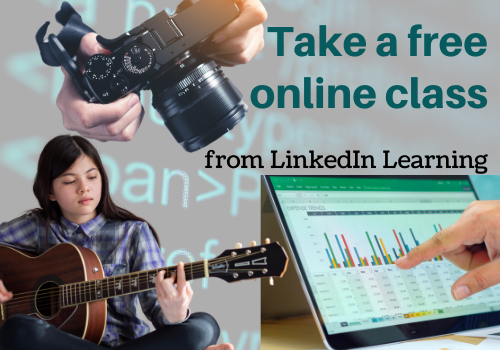 "image with the words ""take a free online class from LinkedIn Learning"""