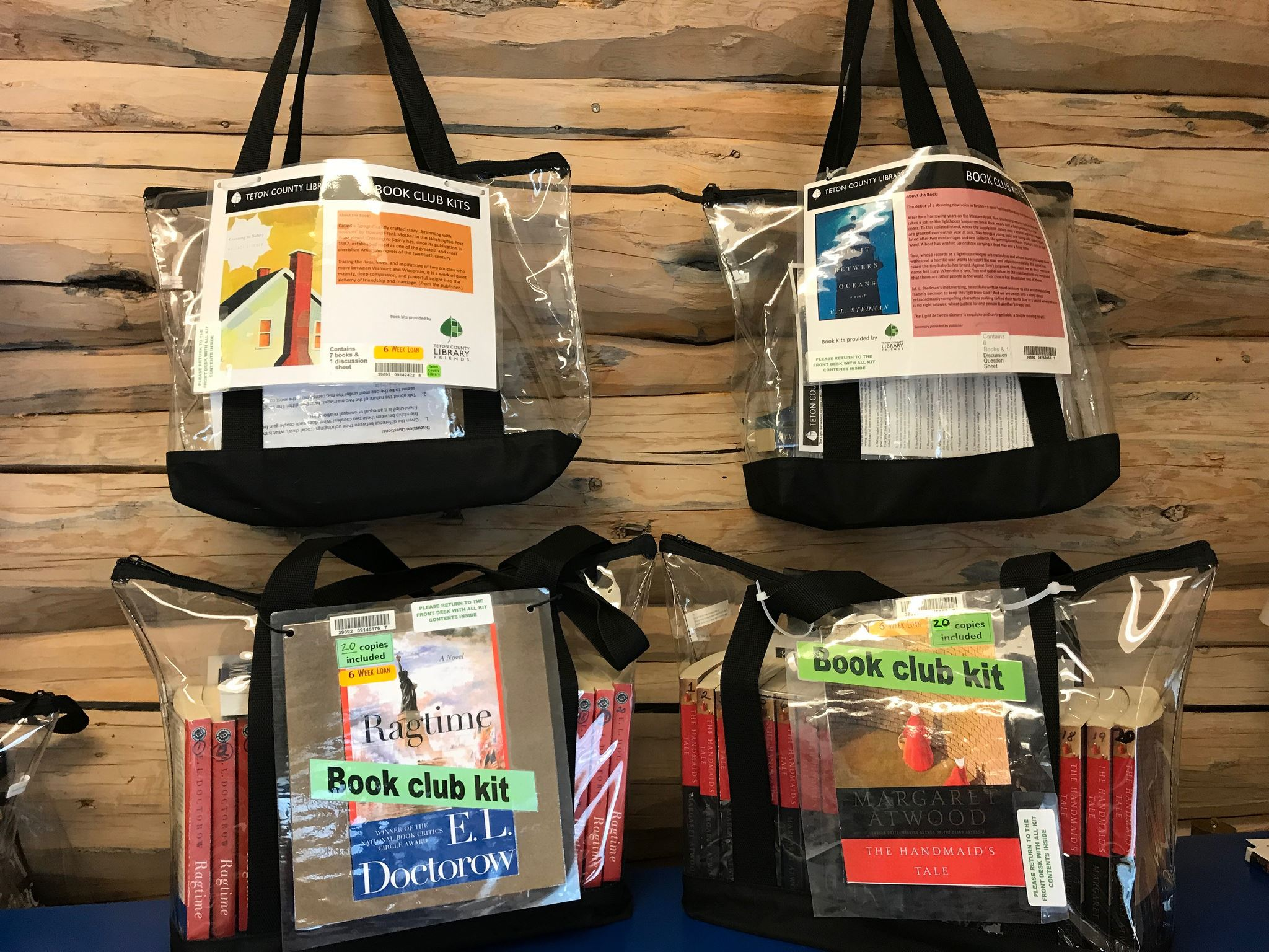 image of book club kit, bags filled with books