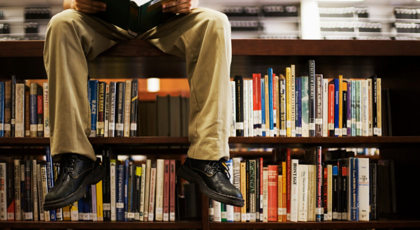 image of a person sitting on top of a bookshelf